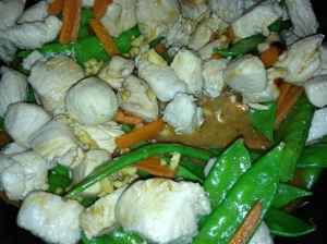 Stir sauce mixture and stir into chicken mixture. Bring to a boil. Cook and stir for about a minute or until thickened.